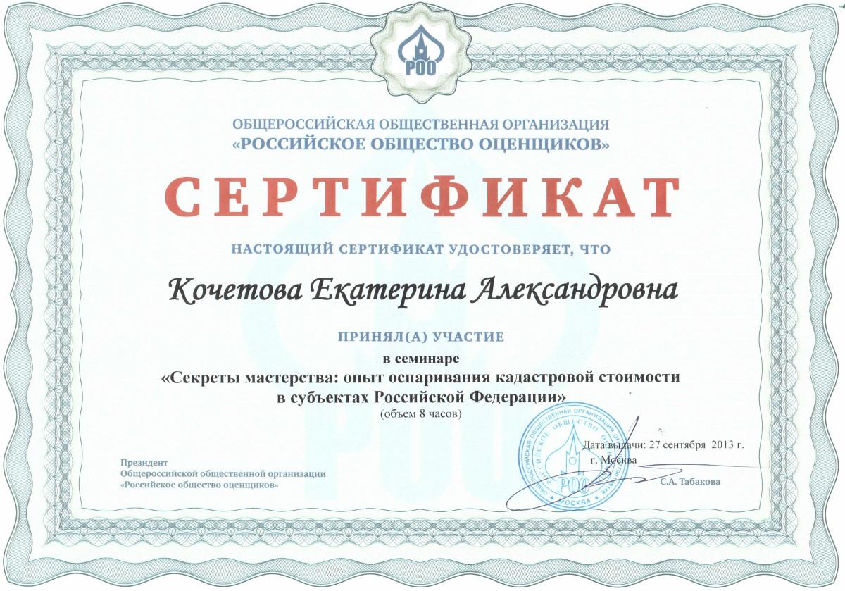 Сертификат участия в мастер классе